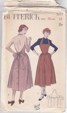 1940s Vintage Sewing Pattern Stunning Halter Dress with tie back Size 18 Bust 36., via Etsy.