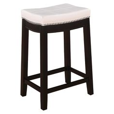 "Padded Saddle Seat 24"" Counter Stool Hardwood/White - Linon : Target"