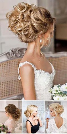 swept-back wedding hairstyles collage 3