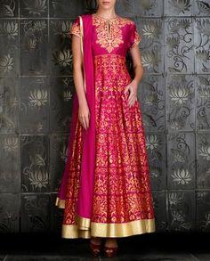 Printed Fuchsia Anarkali Set - Rohit Bal - Designers
