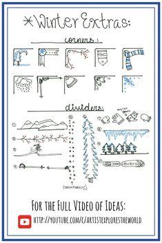 Winter themed Bullet Journal designs. Bullet Journal ideas.