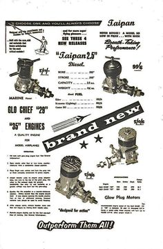 Hearns Hobbies 1958 Catalogue advertising Taipans & Glo-Chiefs.