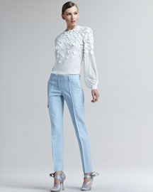 Floral-Applique Blouse & Twill Pants by Oscar de la Renta at Bergdorf Goodman. Bergdorf Goodman, Baby Couture, Twill Pants, Outfit Combinations, My Outfit, Pants Outfit, Get Dressed, Everyday Fashion, Passion For Fashion