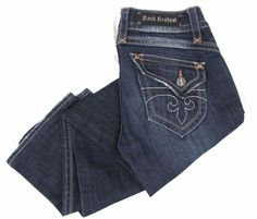 Rock Revival Owen Jeans 30 x 32 Slim Boot Cut Stretch Denim Dark Flap Pockets #RockRevival #BootCut