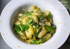 Served with snap peas and shaved asparagus, this Pan Seared Gnocchi is absolutely delectable.