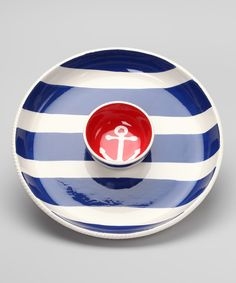 Chip & Dip Dish Set Love the nautical look