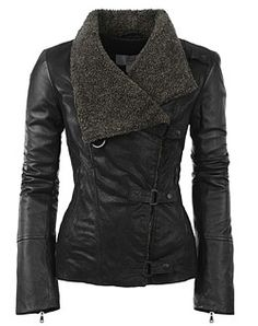 "Danier ""Willa"" jacket. Love the collar and the textured leather."