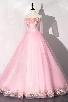 Strapless Pink Tulle Long Sleeve Dress, Long A Line Girls Prom Dress - New Ideas Prom Girl Dresses, Ball Gown Dresses, Formal Dresses, Pretty Outfits, Pretty Dresses, Beautiful Dresses, Pink Tulle, Pink Dress, Debutante Dresses