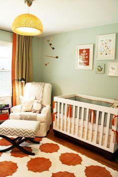 No babies! But I love this color scheme. Greige/aqua/orange/navy