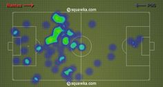 Zlatan's heat map: he and Cavani rotated a lot