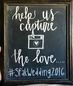 Wedding hashtag chalkboard sign