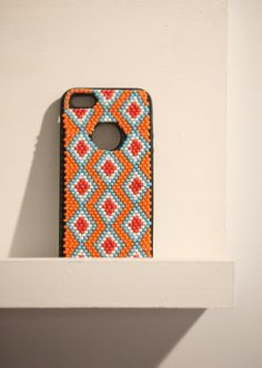 Triangular trend:  Emerging Creative Vukile Batyi's beaded iPhone cover.