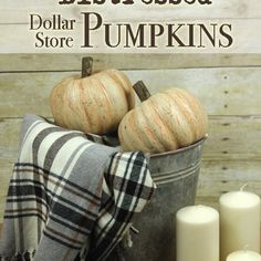Distressed Dollar Store Pumpkins with a Crackle Finish