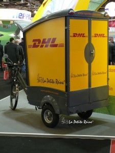 La Petite Reine (little queen) is a French nickname for bicycle. It's also the name of the small company that operates a fleet of over 60 cargocycles for various client companies such as express delivery service DHL.  Everyday these cargo bicycles and tricycles make their way through congested parts of Paris to deliver parcels with an efficiency that Fedex would be proud of.  Besides the suped up messenger services. La Petite Reine also sells and rents these cargo tricycles to the public.