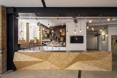 Analog Folk fit-out and interiors by Design Haus Liberty, London - Trend Alert: Faceted Interior Design for Fascinating Dimension - Design Comercial, Osb Wood, Counter Design, Reception Design, Küchen Design, Commercial Design, Office Interiors, Retail Design, Interior Architecture