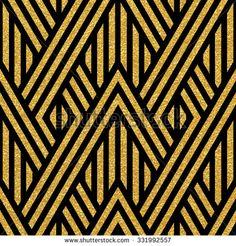 Geometric striped ornament. Vector gold seamless patterns. Modern stylish texture. Gold linear braids. Trendy gold glitter texture - stock vector