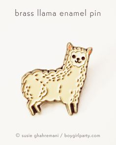 This alpaca / llama enamel pin is here to make you smile. You will receive this original enamel pin illustrated by me (Susie Ghahremani)! This little alpaca pin is made of brass-tinted metal and four