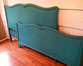 Turquoise Bed - Full, Double, Distressed Bed, Painted Bed, Blue