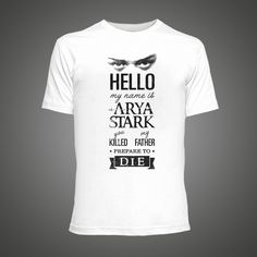 2016 summer Fashion t-shirt Men Funny Hello My Name Is Arya print short-sleeve casual t shirt Tops Tees Hipster tee shirt homme #Affiliate