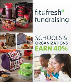 Try a healthy fundraising alternative! Our innovative products promote a healthy lifestyle and are designed for the entire family, plus you can earn 40% of sales towards your school or charity. Learn more today and view our catalog of lunch bags, containers and more at www.Fit-Fresh.com/Pages/Fundraising
