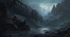 ArtStation - AITD River Concept, Gabriel Yeganyan