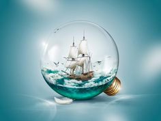 Sailer in a light bulb on Behance