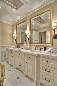 This look is easily workable in the bathroom. Add a fresh coat of beige on the walls and hang some gold framed mirrors, and your bathroom will feel instantly glam.