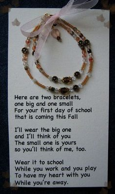 "I can't believe my oldest is starting sixth grade this Fall. It seems like yesterday I was peeling her off my legs on her first day of Kindergarten. I came across this photo on my computer the other day and remembered the First Day of Kindergarten bracelets I made for us – one in her … Continue reading ""Free printable – Mommy & Me First Day of School/Kindergarten Bracelet Poem"""