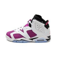 d2a348d49c4431 Jordan Gradeschool Girls Retro 6 (Gs) WHITE BRIGHT GRAPE BLACK VIVID ·  Shoes JordansKids JordansNike Air ...