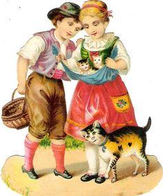 Oblaten Glanzbild scrap die cut  chromo  Kind child Katze cat kitten  at.picclick.com