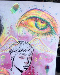 dannyperezart ( on insta) Art Drawings Sketches, Cool Drawings, Indie Drawings, Pretty Art, Cute Art, Posca Art, Arte Sketchbook, Hippie Art, Sketchbook Inspiration