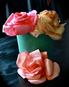 DIY: Water colored coffee filter roses..Would be beautiful for centerpieces at weddings or parties