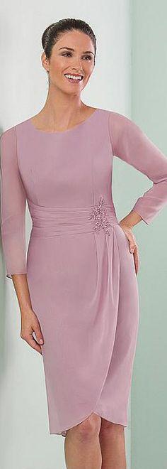 Fantastic Chiffon Jewel Neckline Knee-length Sheath Mother of the Bride Dresses