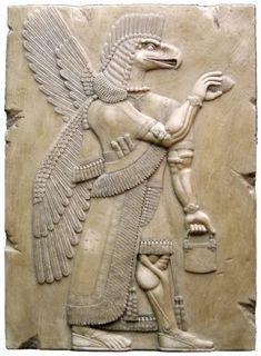 Dieu assyrien avec sac et montre