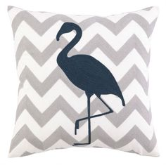 """Flamingo Chevron Embroidered Pillow Nautical gray chevron embroidered design on the background with navy blue embroidered flamingo. Poly-fill Dimensions: 18"""" x 18"""" Item number: 24JSS528C18SQ"""