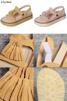 [Visit to Buy] 35-39 Plus Size Shoes Women Sandals Fashion Summer Bread Bottom Open Toe Sandals 2 Colors Tassels Women Shoes  #Advertisement