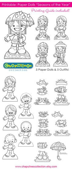 60% off Paper Dolls Printable Seasons of the Year Girls