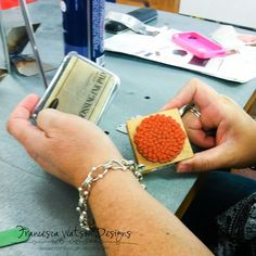 Use rubber stamps and a simple embossing pad (watermark pads work too!) to create patterns on enameled pieces.