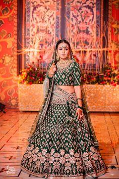 Looking for Offbeat dark green bridal lehenga with gota patti? Browse of latest bridal photos, lehenga & jewelry designs, decor ideas, etc. on WedMeGood Gallery. Indian Bridal Lehenga, Indian Bridal Outfits, Indian Bridal Fashion, Indian Bridal Wear, Indian Designer Outfits, Indian Wear, Muslim Wedding Dresses, Wedding Outfits, Bridal Dresses