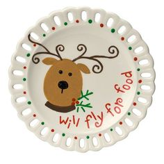 Deck your halls with this colorful holiday plate featuring one of Santa's reindeer ready to fly for food. Description from favecrafts.com. I searched for this on bing.com/images