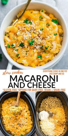 This easy Crock Pot Macaroni and Cheese is the creamiest, cheesiest, most addicting mac & cheese you'll ever make! Everthing, even the pasta cooks in the slow cooker. No boiling or layering is required, just set and forget (dump and go) Freezer-friendly, gluten-free and can easily be made grain-free, dairy-free and vegan with just a few simple swaps. Delicious Crockpot Recipes, Yummy Pasta Recipes, Lunch Recipes, Best Slow Cooker, Slow Cooker Recipes, Vegetarian Casserole, Best Comfort Food, Breakfast Snacks, How To Cook Pasta
