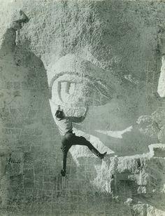 Carving Eye On Mount Rushmore, 1930s.