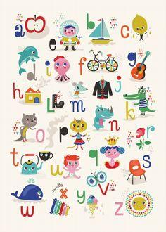 ABC alphabet print by Helen Dardik for PSikhouvanjou Abc Poster, Poster Alphabet, Abc Alphabet, Alphabet Print, Helen Dardik, Designers Gráficos, Love Illustration, Kids Prints, Art For Kids