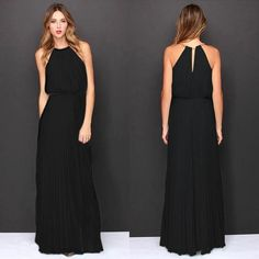 Available Sizes :S;M;L;XL Shoulder Width(cm) :S:39cm; M:40cm; L:41cm; XL:42cm Bust(cm) :S:88cm; M:93cm; L:100cm; XL:109cm Waist(cm) :S:67cm; M:72cm; L:80cm; XL:88cm Hip(cm) :S:94cm; M:99cm; L:107cm; XL:116cm Length(cm) :S:146cm; M:148cm; L:150cm; XL:152cm Type :Slim Material :Chiffon Color :Black Decoration :Pleated Pattern :Plain Collar :Collarless Length Style :Floor Length Sleeve Length :Sleeveless
