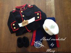 Dress Blues Baby Set - product to buy Crochet Toddler, Crochet Bebe, Crochet For Kids, Hand Crochet, Crochet Hats, Usmc Baby, Marine Baby, Crochet Baby Costumes, Crochet Baby Clothes