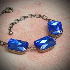 Vintage Rhinestone Bracelet Bride Wedding Blue by rewelliott http://etsy.me/oXhmVv So pretty!