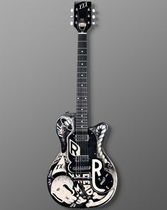 "Gift idea: For the musician or collector, the one-of-a-kind ""Sinked"" Guitar, designed by French illustrator McBess and customized by Nick Page. It would look amazing on stage or hung on a wall. 