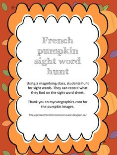French pumpkin sight words hunt