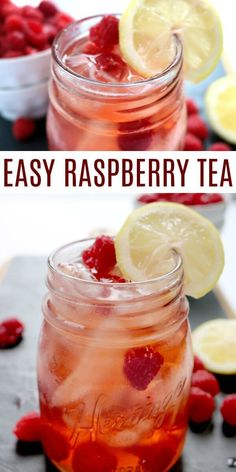 Raspberry iced tea recipe is so light and refreshing! It's the perfect drink to quench your thirst. The fresh raspberries in this Raspberry ice tea recipe make this iced tea so delicious! Learn how to make raspberry iced tea . It's perfect for parties, br Refreshing Drinks, Fun Drinks, Yummy Drinks, Healthy Drinks, Healthy Eats, Alcoholic Drinks, Ice Tea Drinks, Beverages, Nutrition Drinks