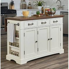 Kitchen Interior Darby Home Co Maile Large Kitchen Island Base Finish: Distressed White/Vintage Oak - Kitchen Island Base, New Kitchen Cabinets, Kitchen Dining, Kitchen Decor, Kitchen Islands, Kitchen Ideas, Moveable Kitchen Island, Decorating Kitchen, Dresser In Kitchen